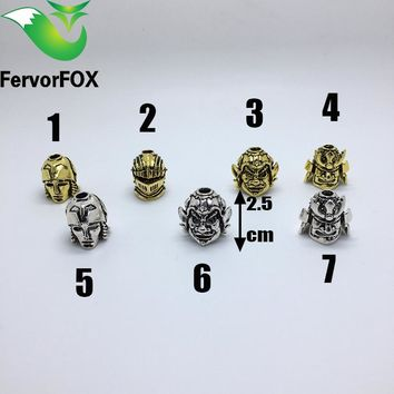 Big size Paracord Beads Metal Charms Skull For Paracord Bracelet  Accessories DIY Pendant Buckle for Paracord Knife Lanyards