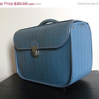 CIJ. Christmas in July. Vintage Blue Amelia Earhart Small Suitcase.
