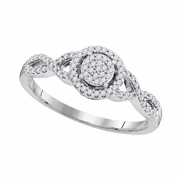 10kt White Gold Womens Round Diamond Cluster Twist Bridal Wedding Engagement Ring 1-5 Cttw