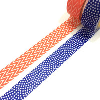 Washi tape set: Coral pink chevron & navy blue polkadot / packaging / gift wrapping