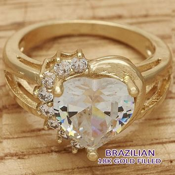 Gold Layered Women Heart Multi Stone Ring, with White Cubic Zirconia, by Folks Jewelry