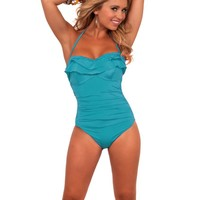 Adjustable String Halter Ruffle Top One Piece Bathing Suit Swimsuit Swimwear
