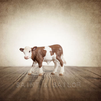 Vintage Cowboy Themed Print Brown and White Cow