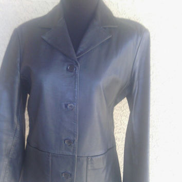 Black leather Coat jacket Gap Xsmall 4 button front 2 hip pockets Vintage 90s Gap leather women