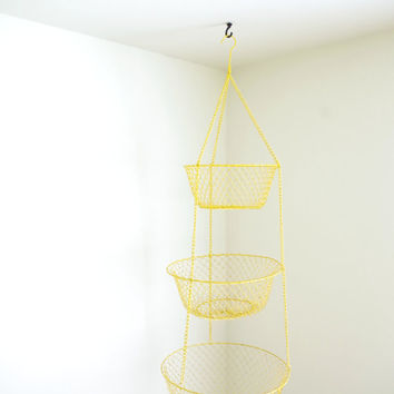 vintage hanging basket // three tier mesh hanging basket // fruit basket // metal hanging basket // yellow basket / farmhouse hanging basket
