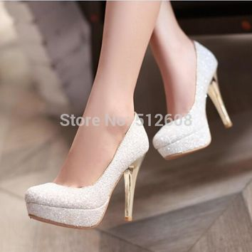 2015 Glittering Fashion sexy party high heel summer women Pumps Wedding shoes lady Pum