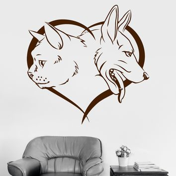 Vinyl Wall Decal Pet Dog Cat Animal Heart Love Kids Room Decor Stickers Unique Gift (ig3255)