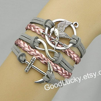 Catching fire,Mockingjay bracelet,Mockingjay pin,Anchor bracelet,infinity bracelet,braided bracelet,couples bracelet,Hunger bird games,gray