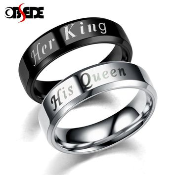 Trendy OBSEDE King Queen Rings Stainless Steel Couples Lover's Rings for Men Women Romantic Wedding Engagement Fashion Jewelry AT_94_13