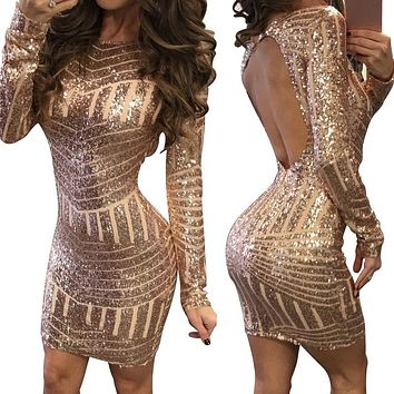 LITTHING Women Winter Spring Long Sleeve Sparkly Bodycon Sexy Club Party Dresses Vestidos Backless Sequin Christmas Mini Dress