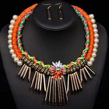 Multicolor Man-made Pearls Flower Tassel Knitted Necklace and Earrings