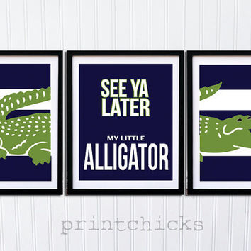 Alligator Print Set  - Nursery or Toddler Room Decor - Personalized Gator Print - Madras Pottery Barn