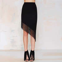 Asymmetric Fringed Bodycon Midi Skirt