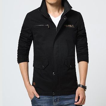 Spring Casual Stand Collar Cotton Military Style Men Coats And Jackets