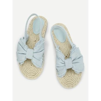 Bow Design Denim Espadrille Flats