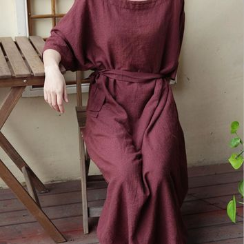 Women jacquard cotton linen loose waist casual dresses 2017 summer batwing sleeve square collar large size gown robe for female
