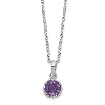 "Sterling Silver Round Crown Set Amethyst 18"" Necklace"