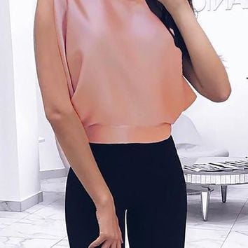 New Orange Tie Back Bow Backless Fashion Going out Blouse