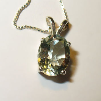 Prasiolite (Green Amethyst) Pendant Necklace in Solid Sterling
