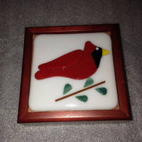 Wooden box with a handcut fused glass cardinal