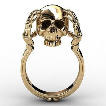 Punk Gold Skull Rings for Women Fashion Wedding Engagement Party Jewelry 2018 Best Gift