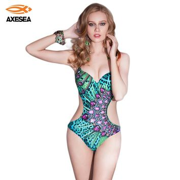 Sexy One Piece Swimwear Monokini Women Swimsuit Beachwear Rhinestone Green Bathing Suit Push Up Brazilian Backless Monokini