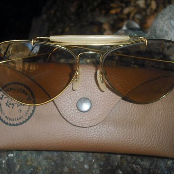 1970's 62MM VINTAGE B&L RAY BAN BRN CHANGEABLES OUTDOORSMAN AVIATORs SUNGLASSES
