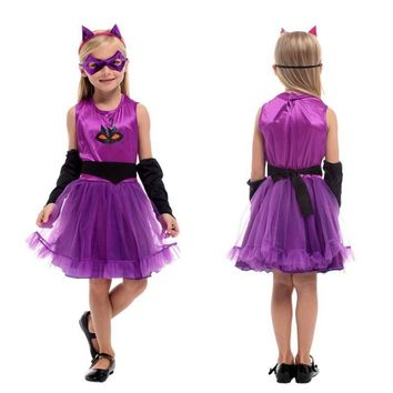 Cool Kids Girl Kigurumi Kitty Catwoman Cosplay Children Halloween Cat animal Costume Carnival Purim Masquerade Stage play party dressAT_93_12
