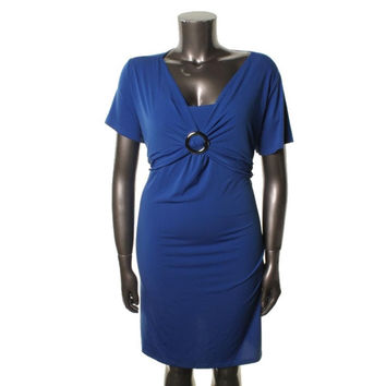 Elementz Womens Plus Jersey O-Ring Cocktail Dress