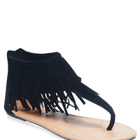 Fringe Cuff T-Strap Sandals | Wet Seal