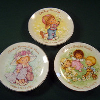 Three Vintage AVON Mother's Day Plates Porcelain Hand Painted