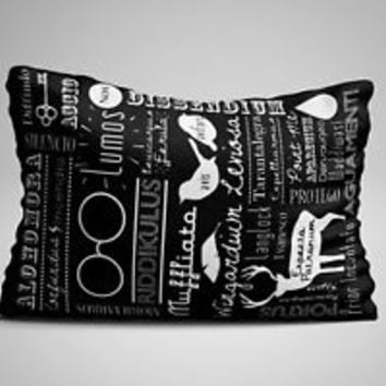 "Harry Potter Spells Cover Quotes Zippered Pillow Case 16""x 24"" - Two sides cover"