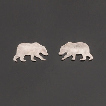 Sterling silver bear post earrings. Bear silhouette earrings. Bear stud earrings. Silver studs. Totem jewelry.