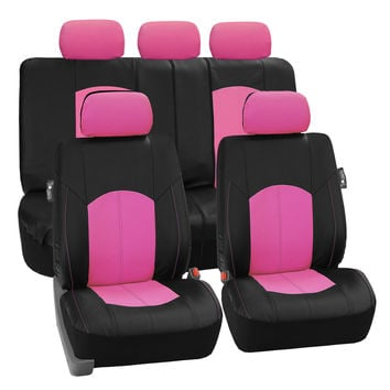 FH Group Pink Perforated Leatherette Auto Seat Covers Full Set