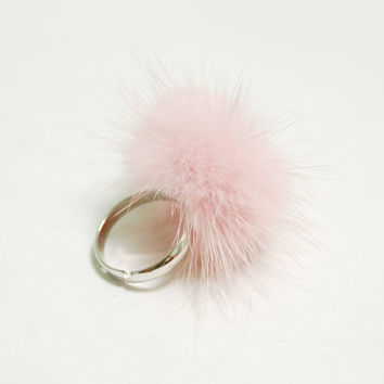 baby pink ball - baby pink fur ring silver ton metal cotton candy mori girl forest rabbit tail bunny girl cute kawaii soft kids gift for her