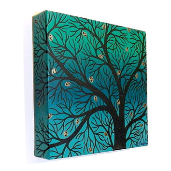Silhouetted Green Spring Tree Branches acrylic painting