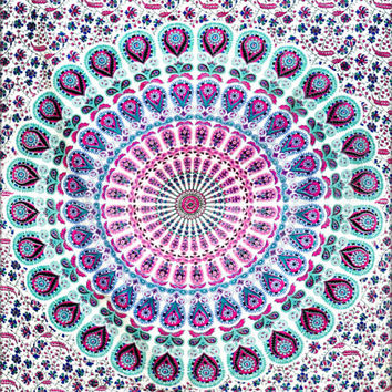 Peacock Mandala Tapestry,Hippie Wall Hanging,Hippie Tapestry,Bohemian Tapestry,Indian Boho Cotton Bedspread Bed Sheet vk