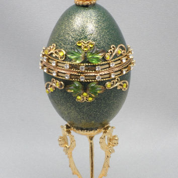 Sparkling Green Jewel Box Wedding Ring Jewelry Box Jeweled Egg Ornament Faberge Style Decorated Egg Art