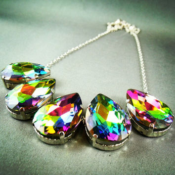 Vitrail - Vintage Swarovski Crystal Statement Necklace Rainbow Necklace