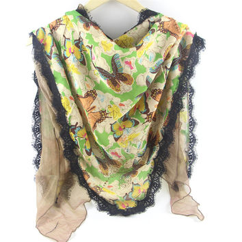 The new double-layer fashion chiffon lace sunscreen shawl oversized bandage Butterfly Print Scarf 180 * 100 Free shipping