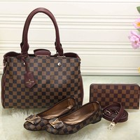 LV Women Leather Tote Satchel Shoulder Bag Handbag Shoes Wallet Three Piece Suit-8
