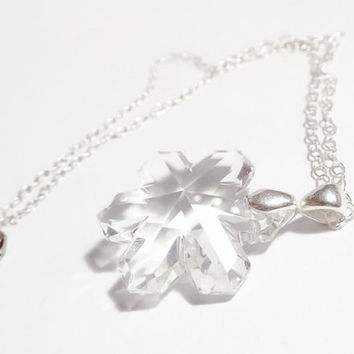 Snowflake Necklace, Winter Necklace, Crystal Necklace, Silver Necklace, Holiday Necklace, Christmas Necklace