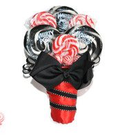 Lollipop Bridesmaid Bouquet, Candy Bridesmaid Bouquet, Red Bouquet, Black Bouquet, Bridesmaid, Wedding, Maid of Honor, Bouquet, Candy