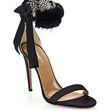 Aquazzura - Iris Satin & Mink Fur Feathered Sandals - Saks Fifth Avenue Mobile