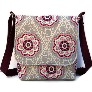 Small Purse Messenger Style - Grey and Burgundy and Pink Retro Floral - Long Adjustable Strap