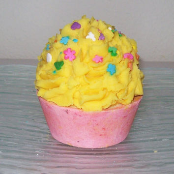 Cupcake Bath Bomb/Soap Birthday Cake/Lemon Chiffon Moisturizing by SweetSensations on Etsy