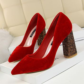 Pointed Toe Suede Sequins Chunky Heel High Heels Party Shoes