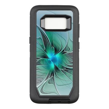 Abstract With Blue, Modern Fractal Art OtterBox Defender Samsung Galaxy S8 Case