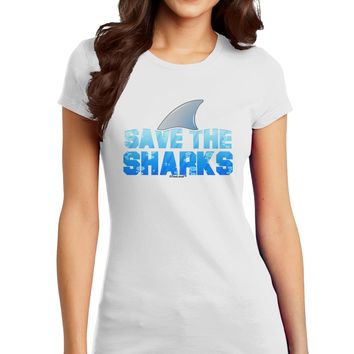 Save The Sharks - Fin Color Juniors T-Shirt by TooLoud
