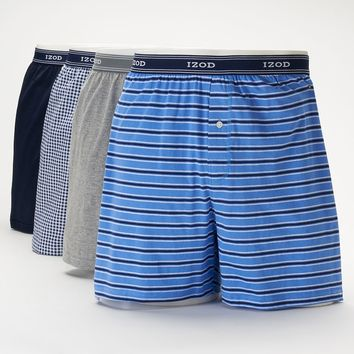 IZOD 4-pack Solid & Patterned Knit Boxers